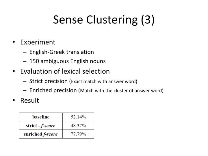 Sense Clustering (3)