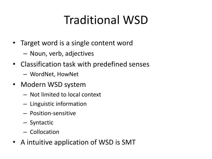 Traditional WSD