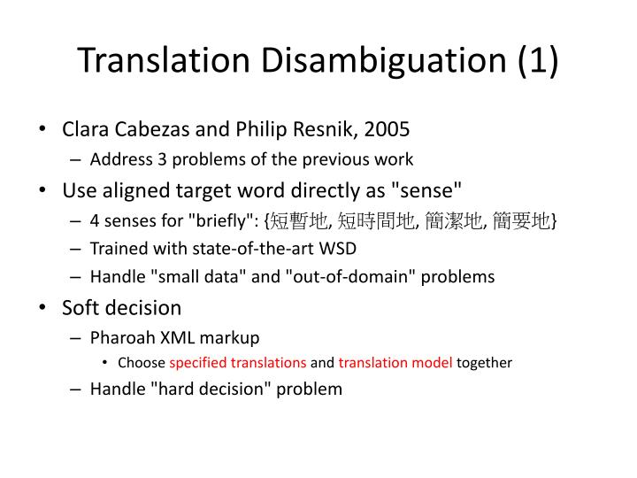 Translation Disambiguation (1)