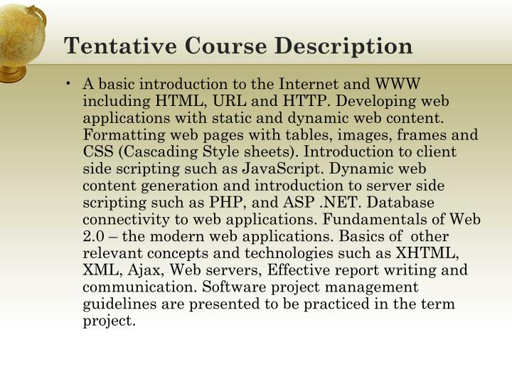 Tentative Course Description
