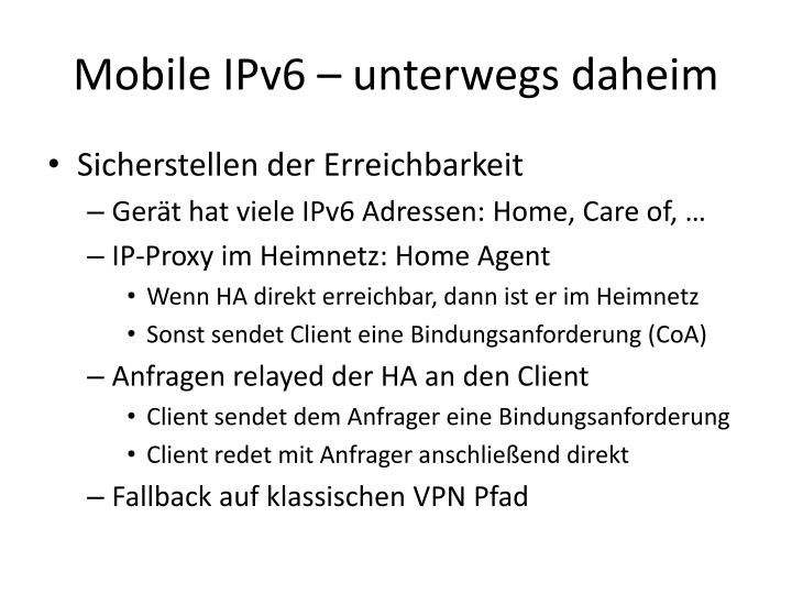 Mobile IPv6 – unterwegs daheim