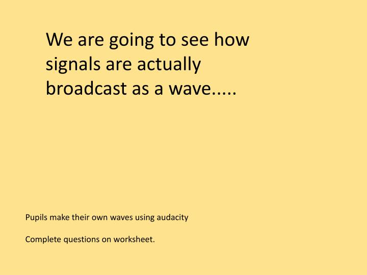 We are going to see how signals are actually broadcast as a wave.....