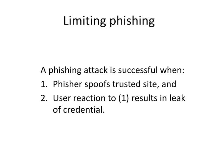 Limiting phishing