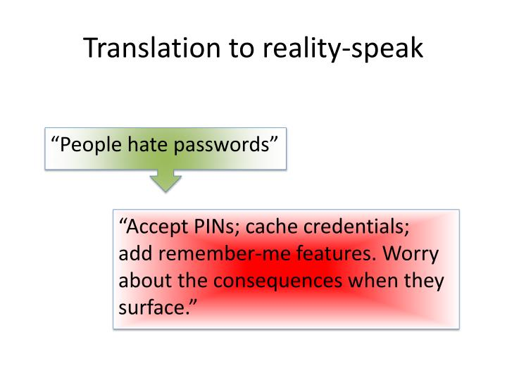 Translation to reality-speak