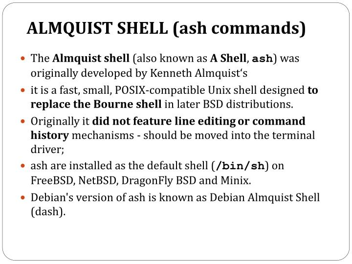 ALMQUIST SHELL (ash commands)