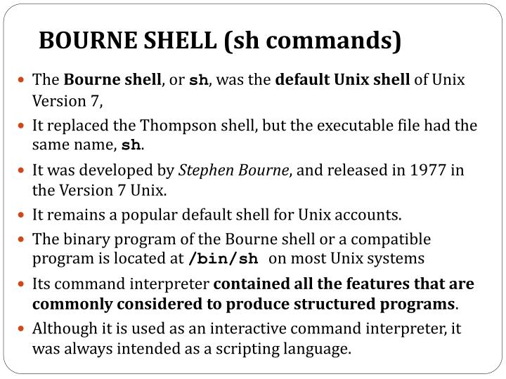 BOURNE SHELL (