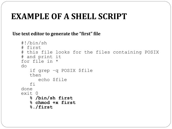 Example of a shell script