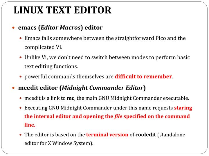 LINUX TEXT EDITOR