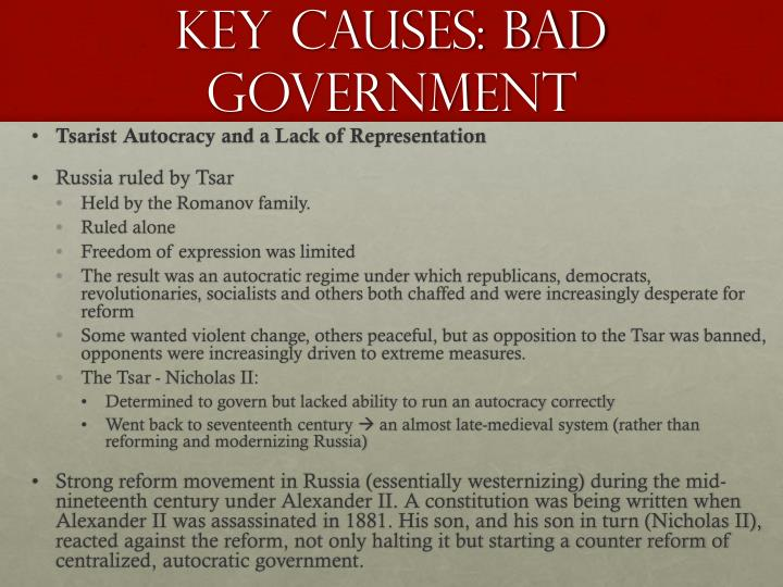Key Causes: Bad Government