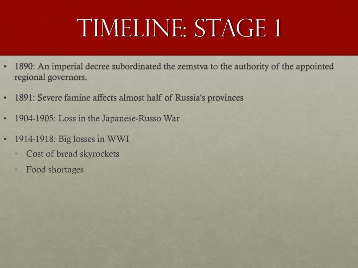Timeline: Stage 1