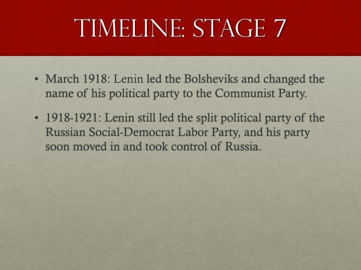 Timeline: Stage 7