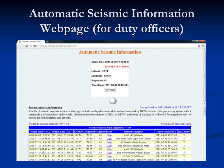 Automatic Seismic Information Webpage (for