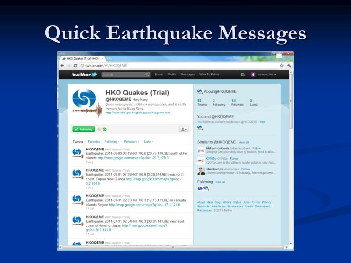 Quick Earthquake Messages