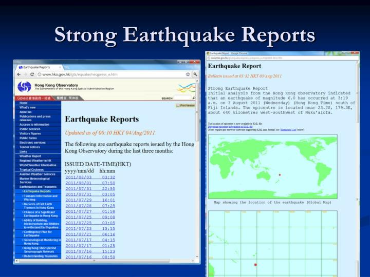 Strong Earthquake Reports