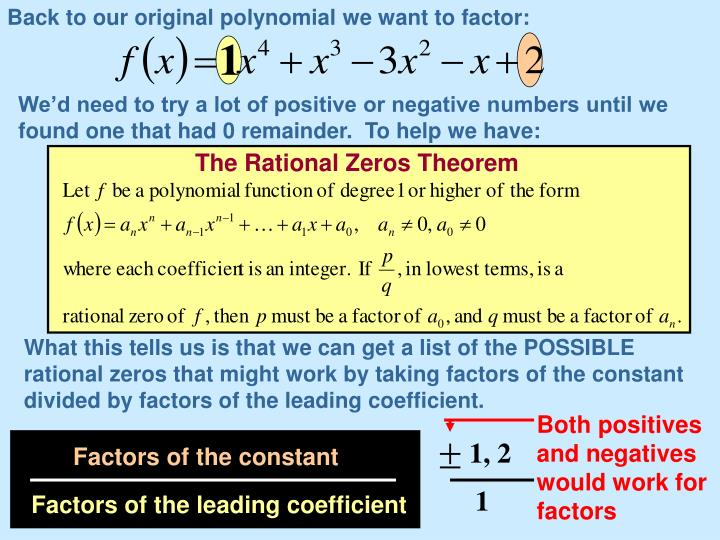 Back to our original polynomial we want to factor: