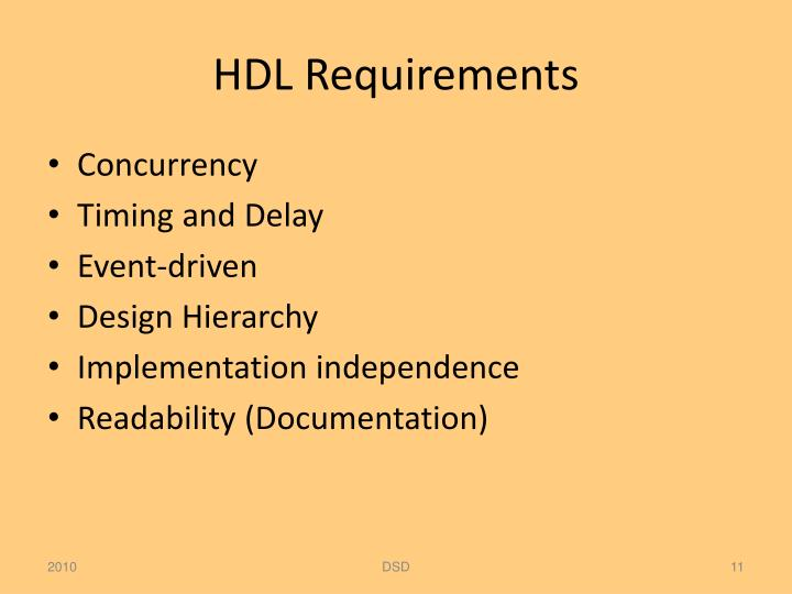 HDL Requirements