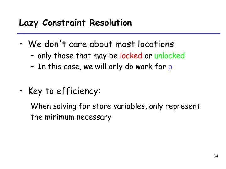 Lazy Constraint Resolution