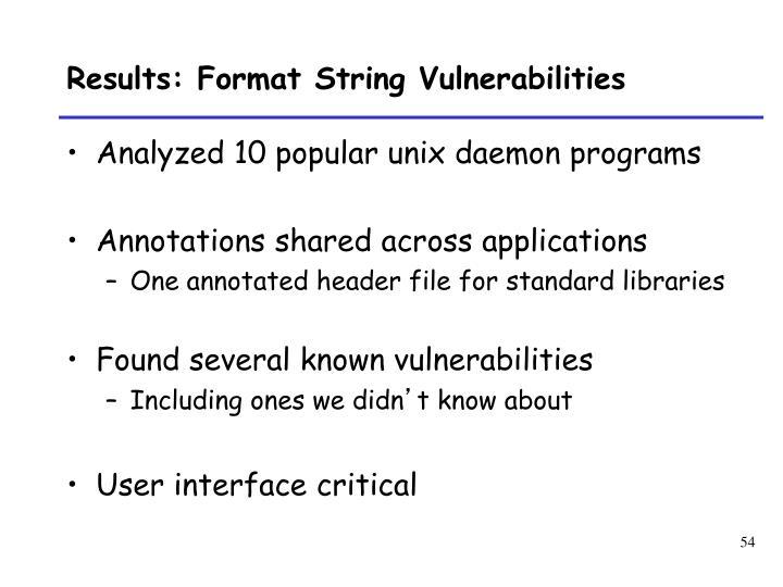 Results: Format String Vulnerabilities