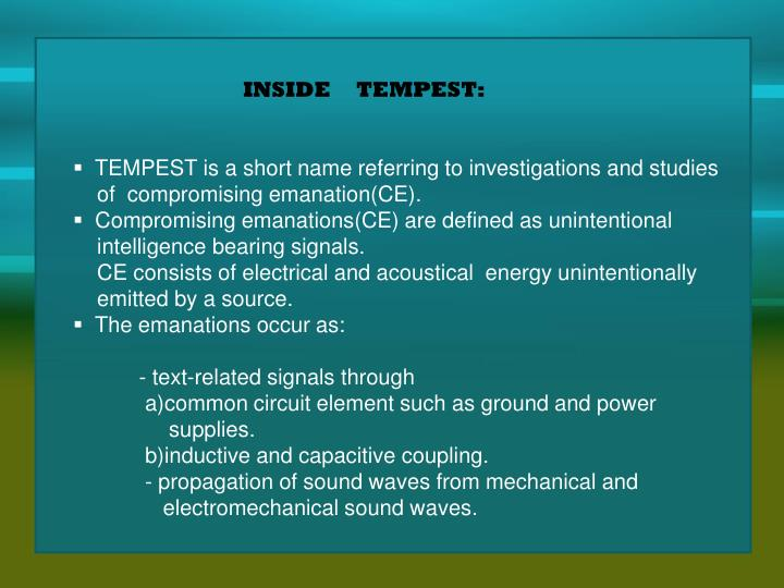 INSIDE     TEMPEST: