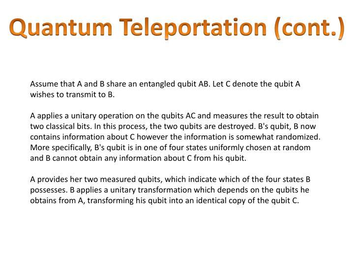 Quantum Teleportation (cont.)