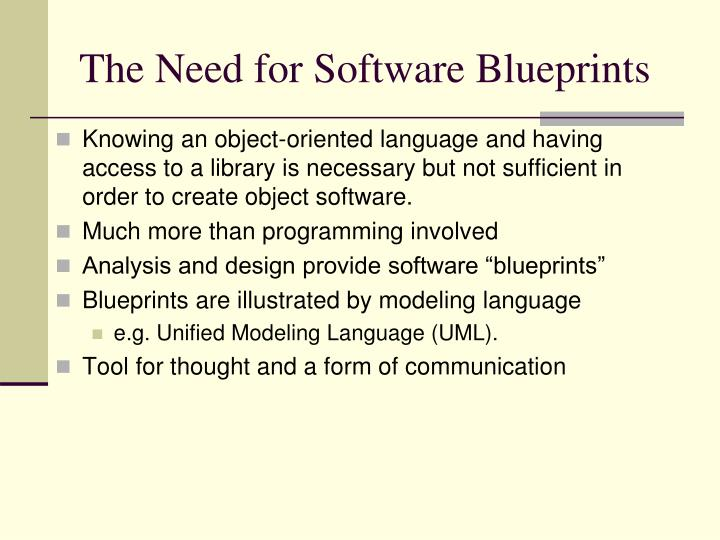 The Need for Software Blueprints