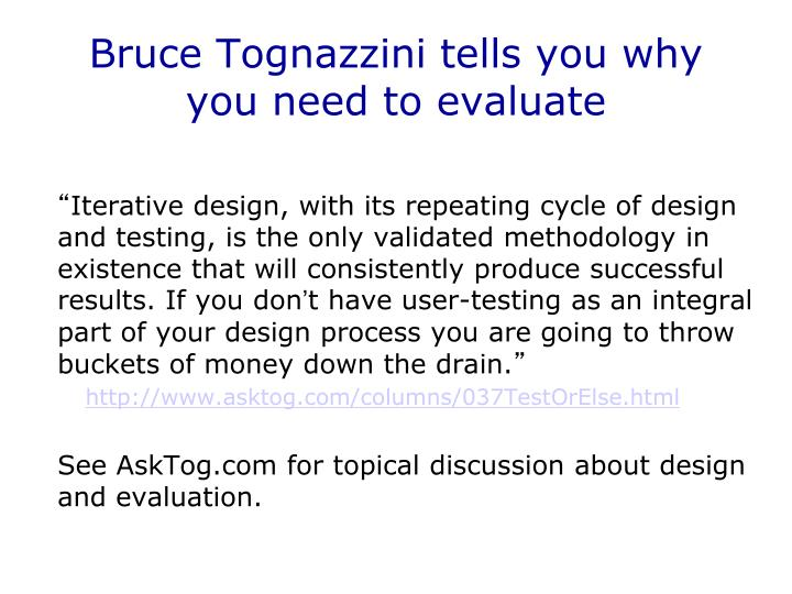 Bruce Tognazzini tells you why you need to evaluate