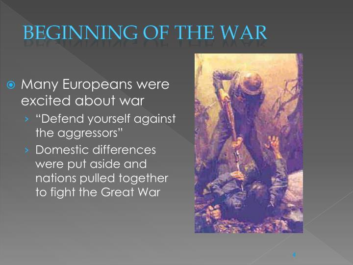Beginning of the war