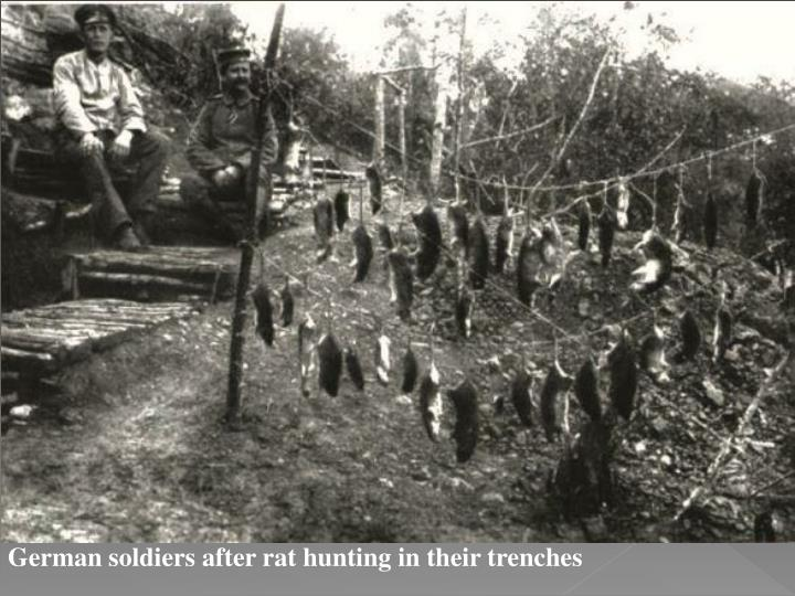German soldiers after rat hunting in their trenches