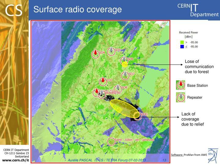 Surface radio coverage