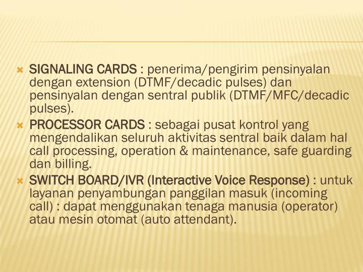 SIGNALING CARDS