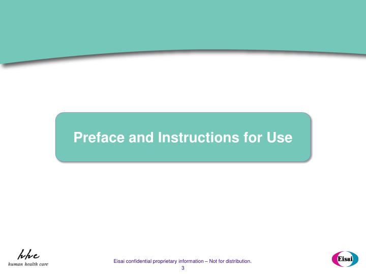 Preface and Instructions for Use