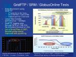 gridftp srm globusonline tests