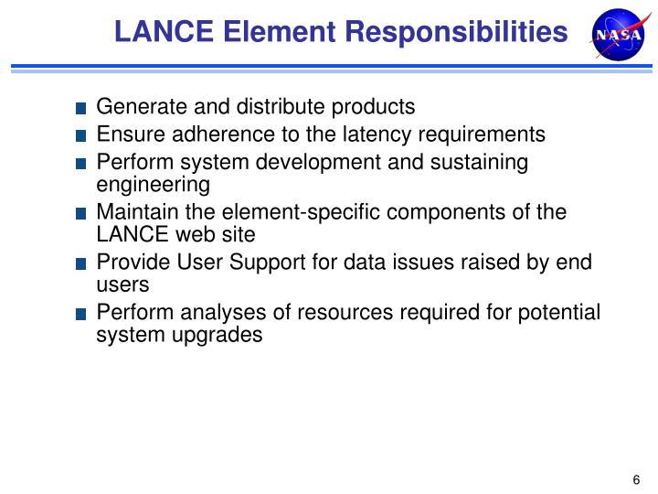 LANCE Element Responsibilities