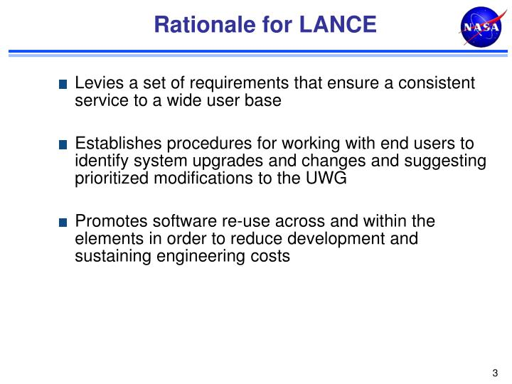 Rationale for lance