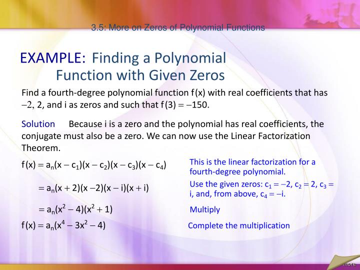 This is the linear factorization for a fourth-degree polynomial.