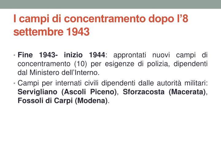I campi di concentramento dopo l'8 settembre 1943