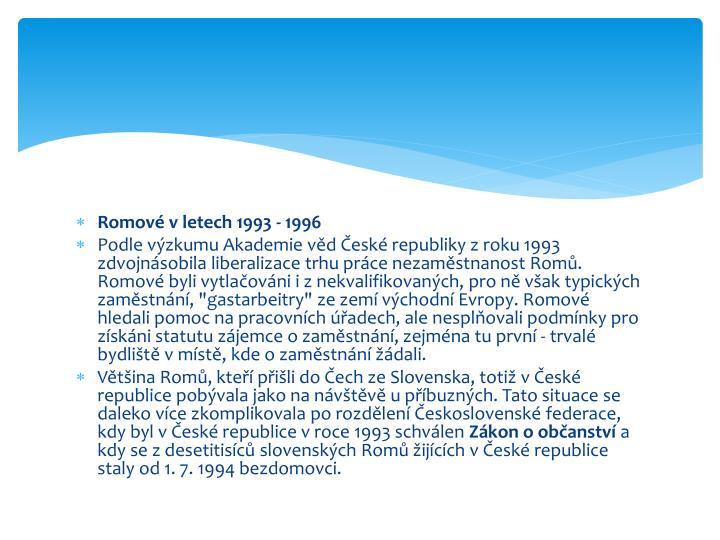 Romové v letech 1993 - 1996