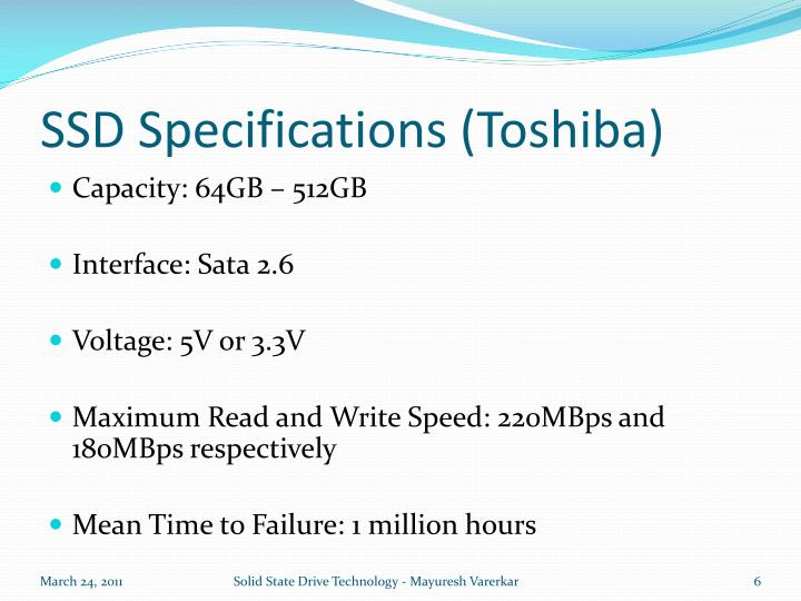 SSD Specifications (Toshiba)
