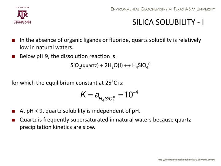 SILICA SOLUBILITY - I