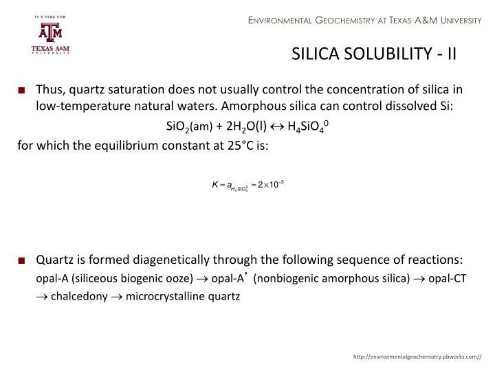 SILICA SOLUBILITY - II