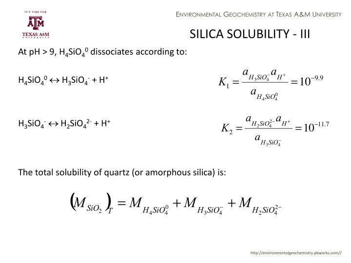 SILICA SOLUBILITY - III