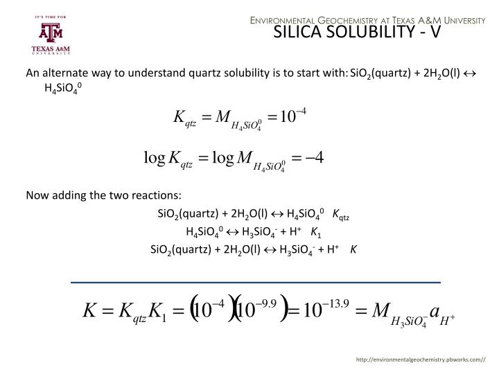 SILICA SOLUBILITY - V