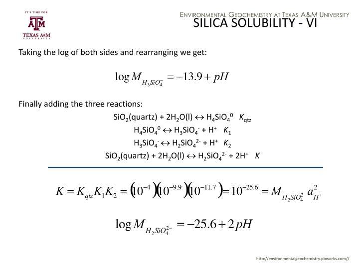 SILICA SOLUBILITY - VI