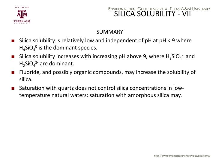 SILICA SOLUBILITY - VII