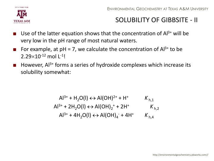 SOLUBILITY OF GIBBSITE - II