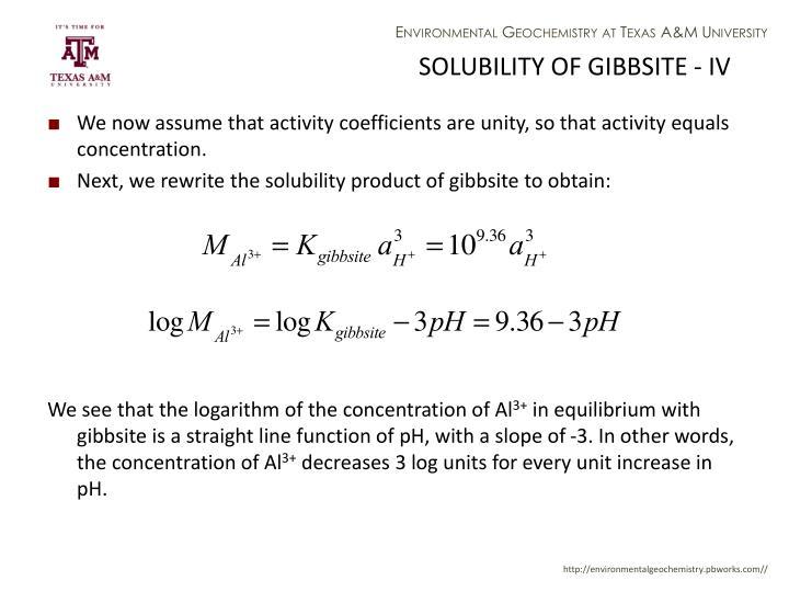 SOLUBILITY OF GIBBSITE - IV