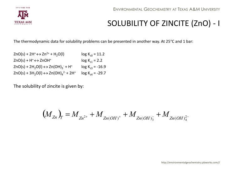 SOLUBILITY OF ZINCITE (ZnO) - I