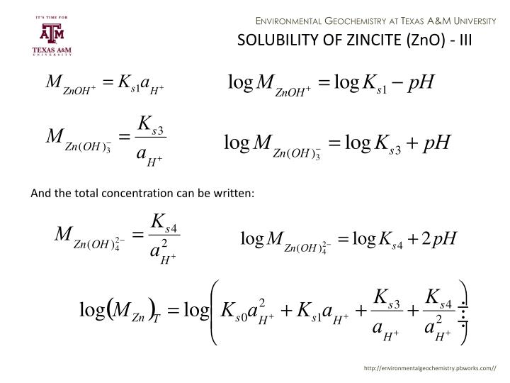 SOLUBILITY OF ZINCITE (