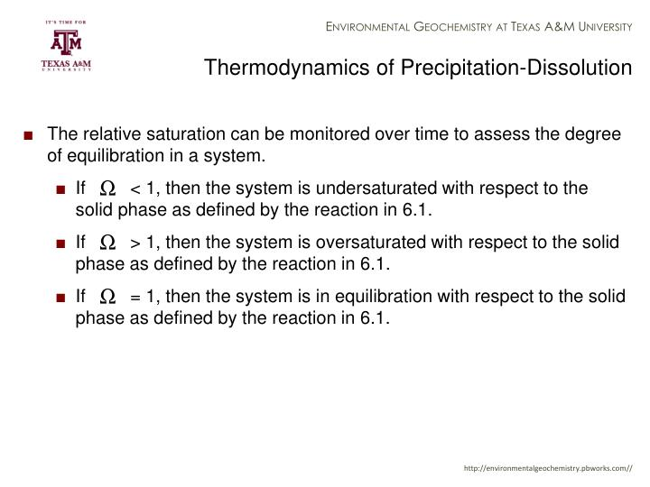 Thermodynamics of Precipitation-Dissolution