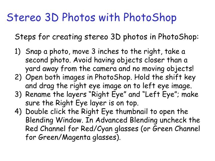 Stereo 3D Photos with PhotoShop